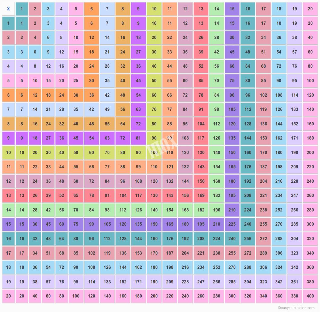 Multiplication Table Chart 20X20 - Pflag
