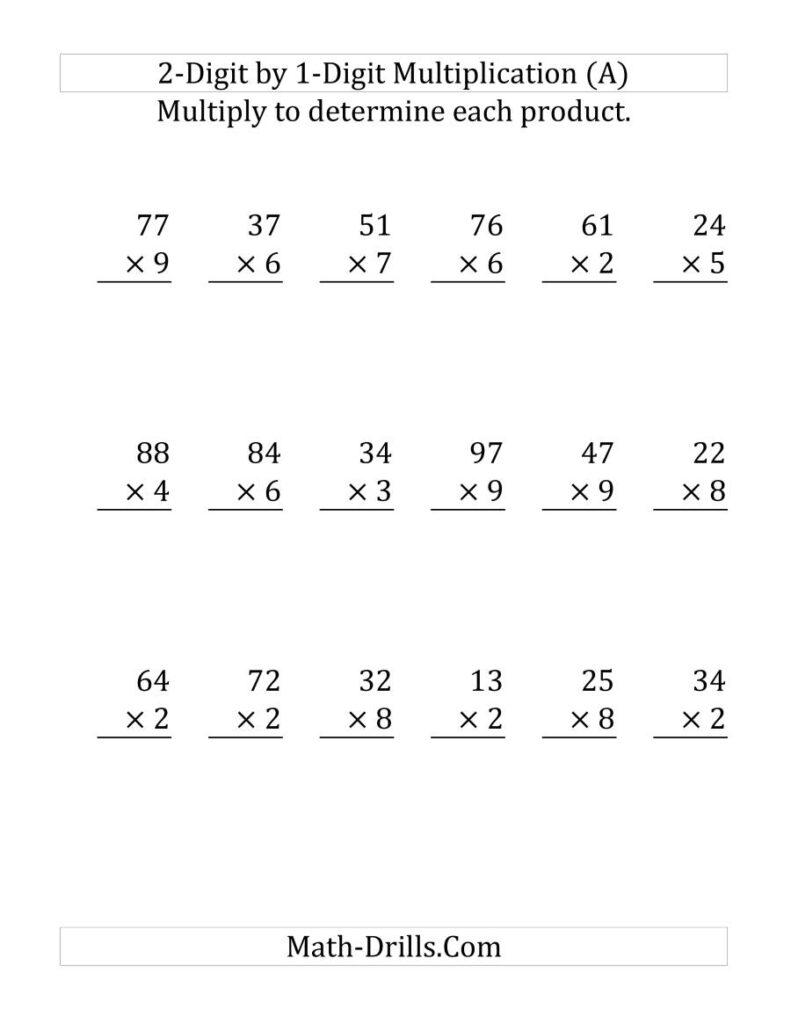 Multiplying A 2 Digit Numbera 1 Digit Number (Large