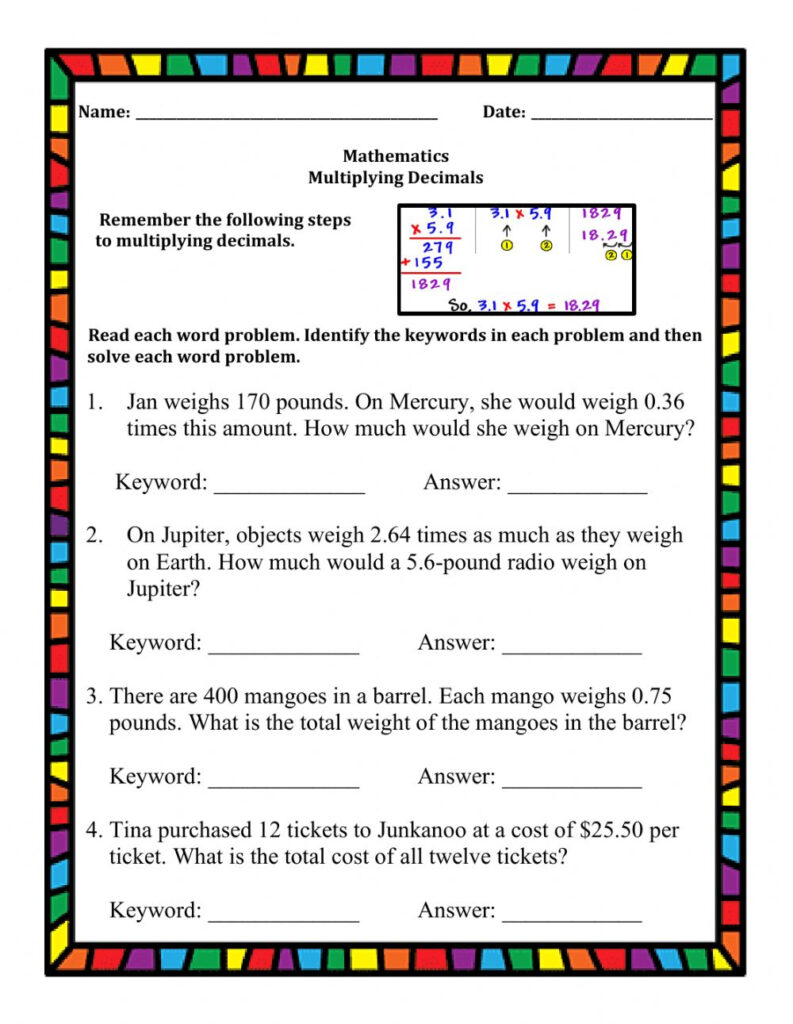 Multiplying Decimals Word Problems Worksheet