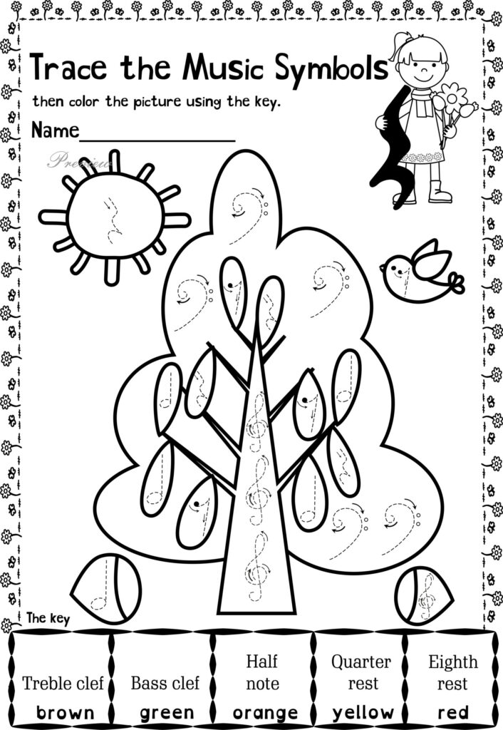 Music Themed Coloring At Getdrawings Free Worksheets For
