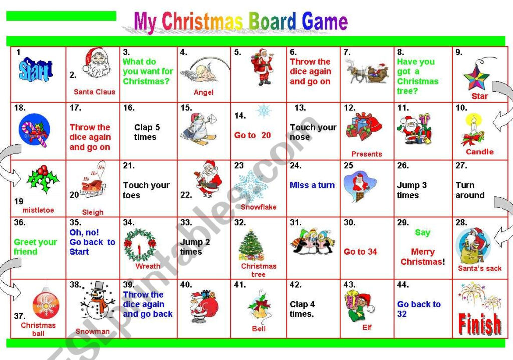My Christmas Board Game   Esl Worksheetpetili