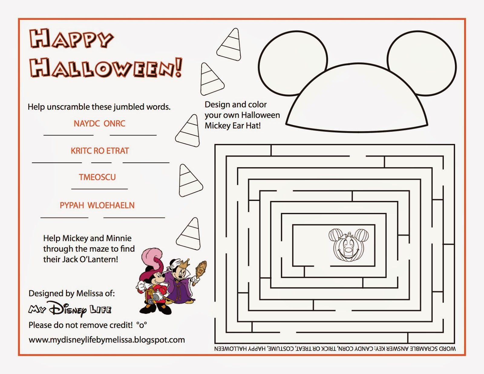 My Disney Life: Halloween Activity Sheet   Halloween