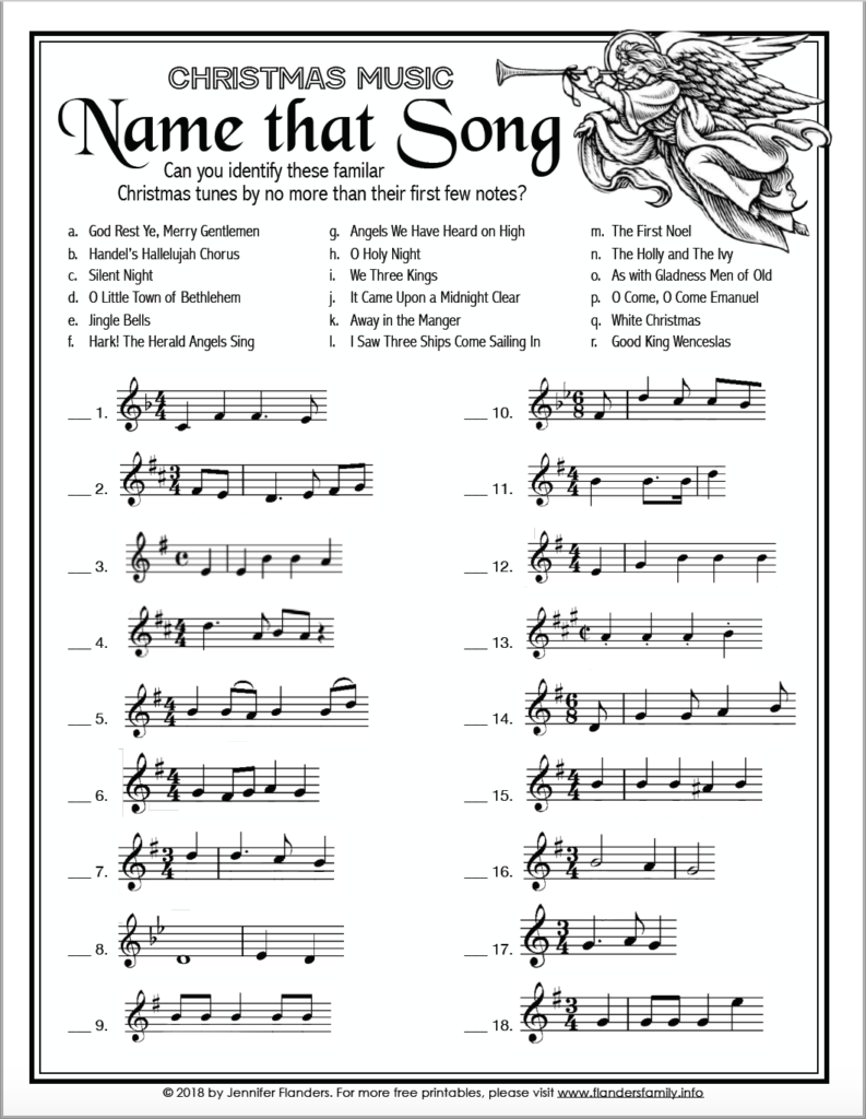 "Name That Song"" Christmas Game   Flanders Family Homelife"