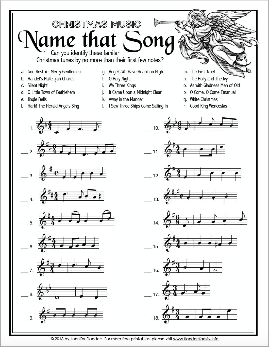"Name That Song"" Christmas Game - Flanders Family Homelife"