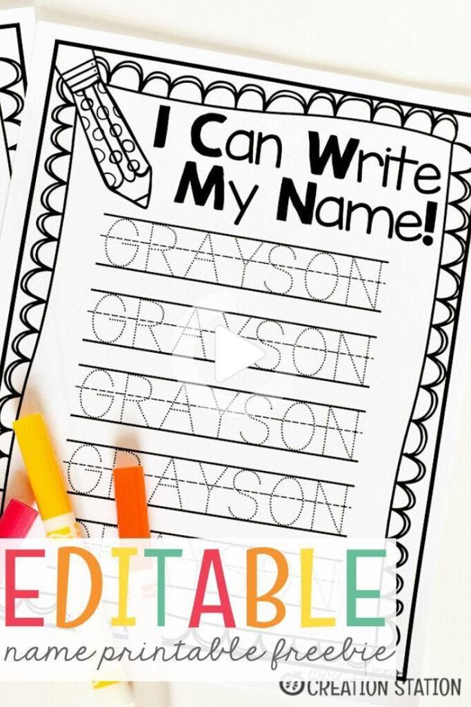 Name Writing Practice   Handwriting Freebie In 2020   Name For Name Tracing Freebie