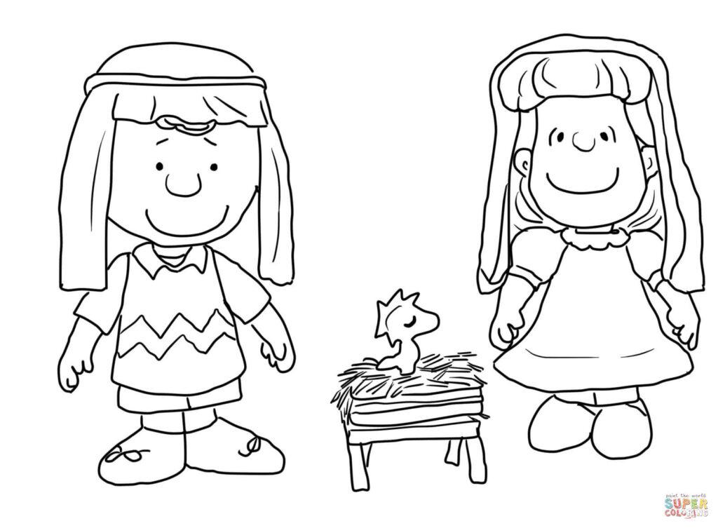 Nativityloring Page Charlie Brown Christmas Free Printable