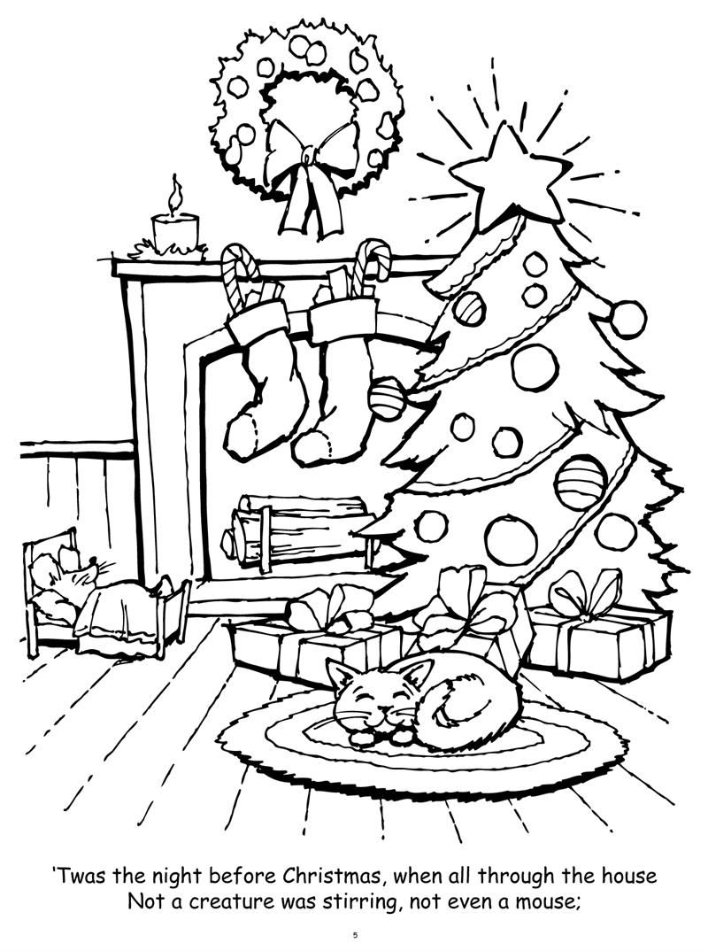 Night Before Christmas Coloring Pages | Christmas Coloring
