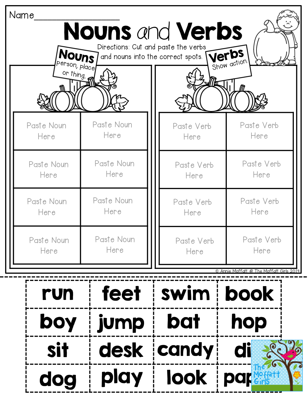 Nouns And Verbs (Sorting) Tons Of Fun Printables! | Nouns