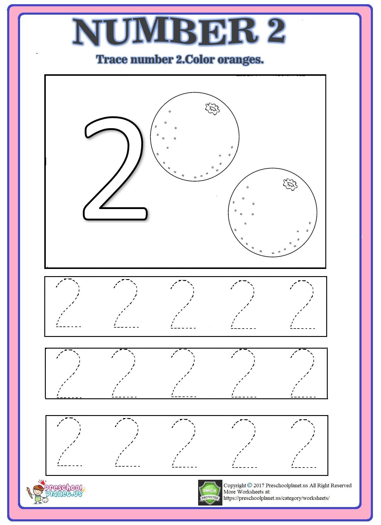 Number 2 Trace Worksheet – Preschoolplanet