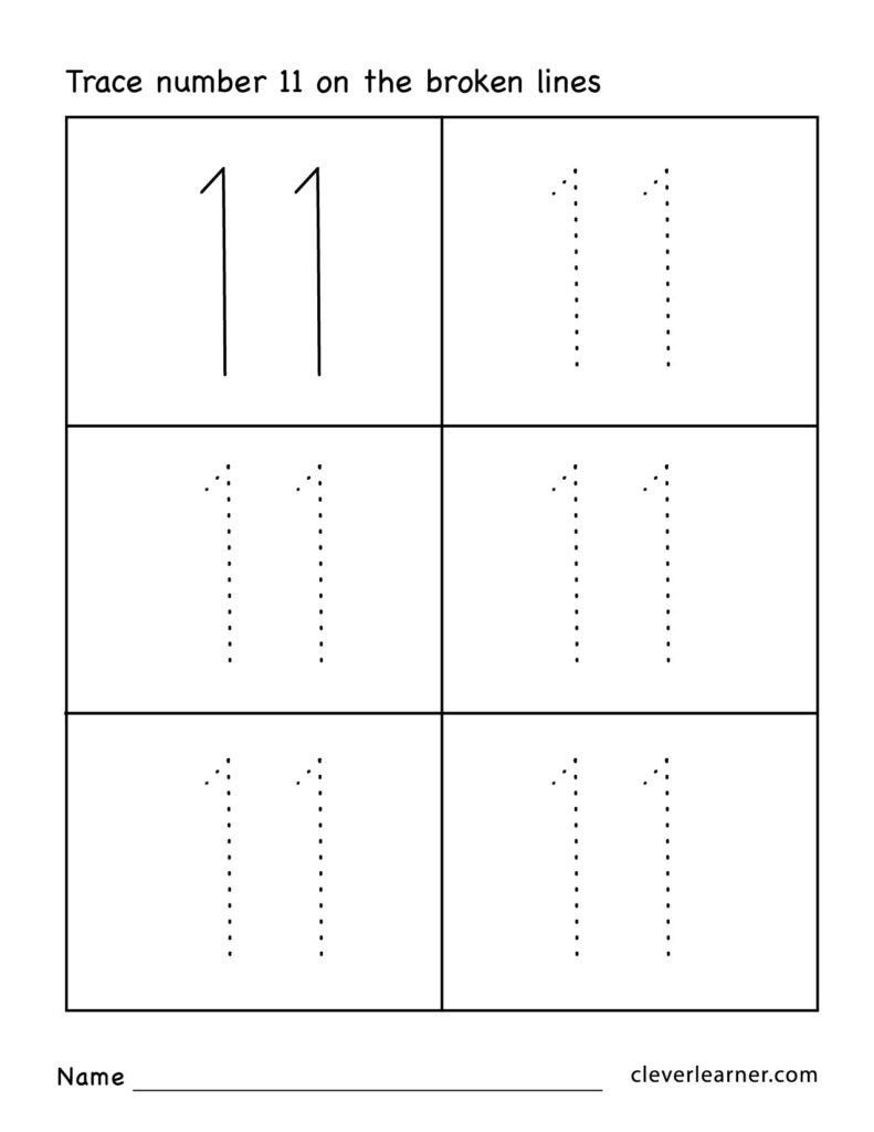 Number Eleven Writing, Counting And Identification Printable