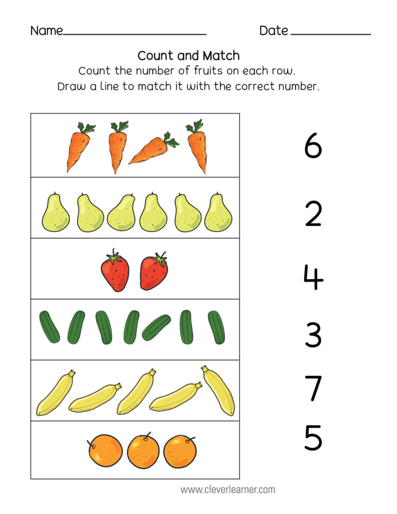 Number Matching Counting And Writing Worksheets Numbers