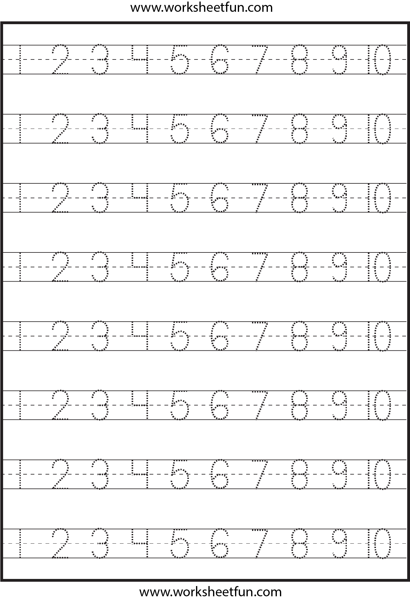 Number Tracing – 1-10 – Worksheet / Free Printable