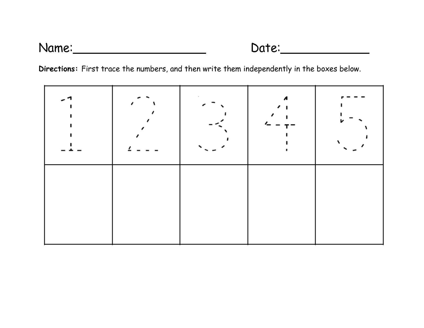 Number Tracing 1 To 5 | Writing Numbers, Numbers Preschool