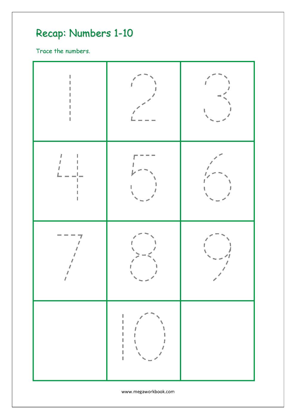 Number Tracing - Tracing Numbers - Number Tracing Worksheets