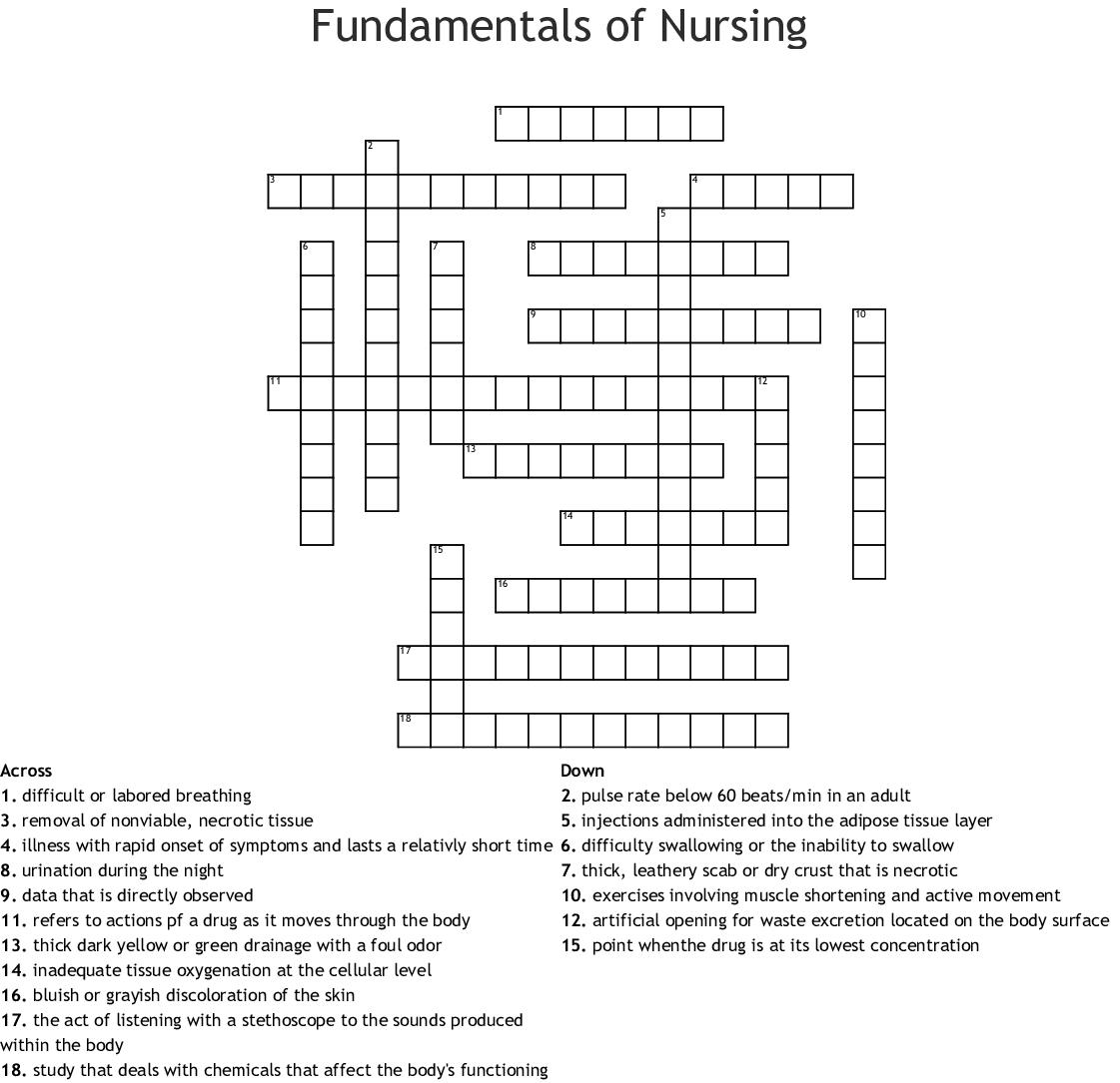 Nursing Crossword Puzzle Worksheet | Printable Worksheets