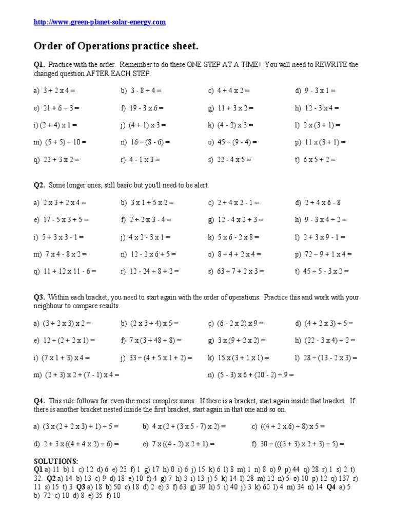 Order Of Operations 1 | Order Of Operations, Bodmas, 6Th