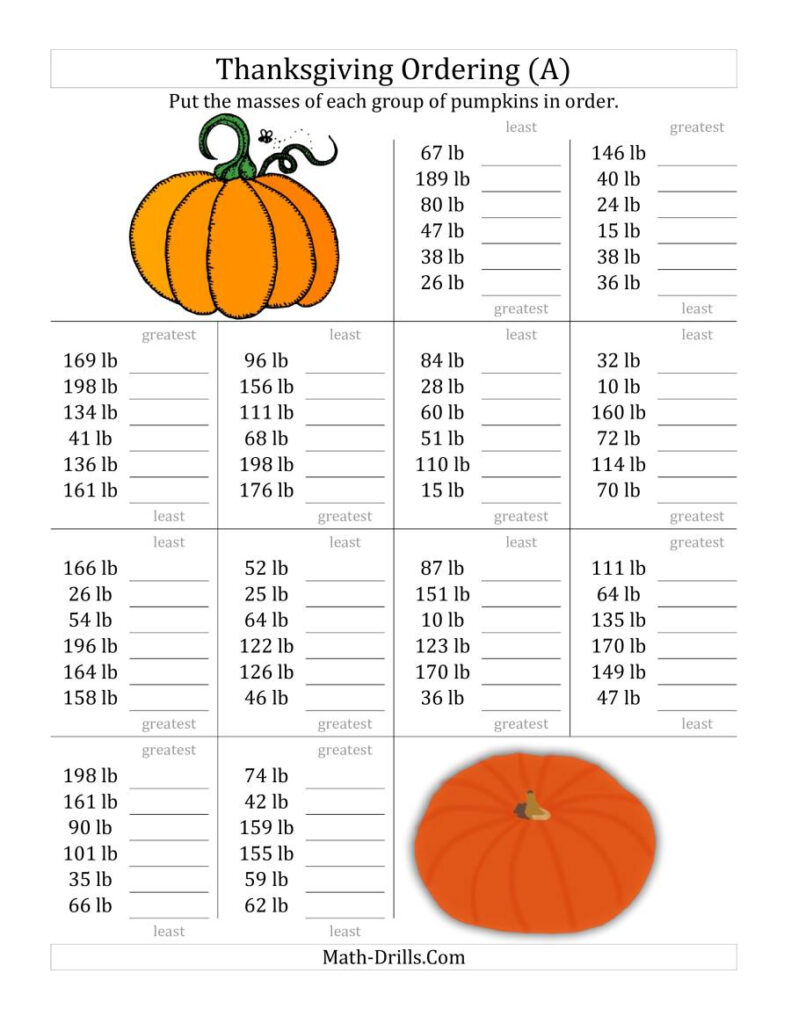 Ordering Pumpkin Masses In Pounds All Thanksgiving Math