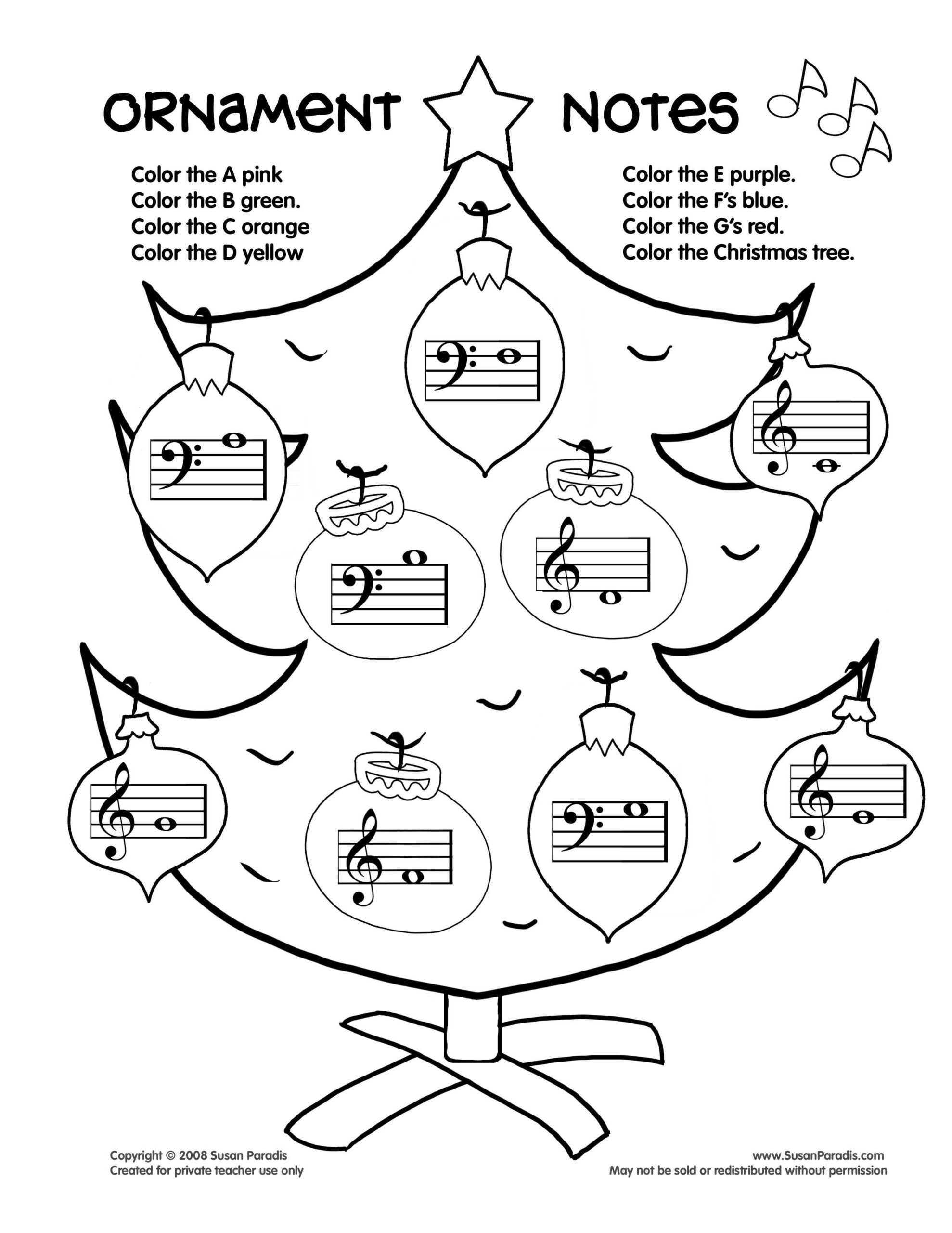 Ornament Notes   Christmas Music Activities, Piano Teaching