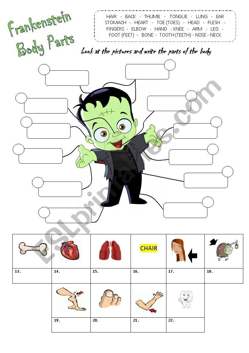 Parts Of The Body - Halloween - Esl Worksheetbucky2406