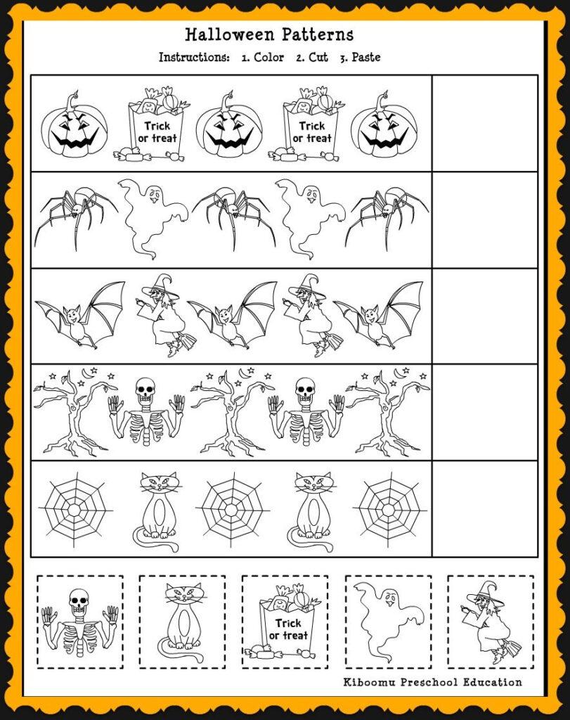 Patterns Math Worksheet For Halloween 884×1,116 Pixels