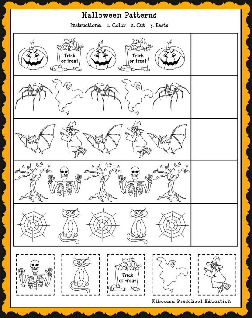 Patterns Math Worksheet For Halloween 884×1,116 Pixels