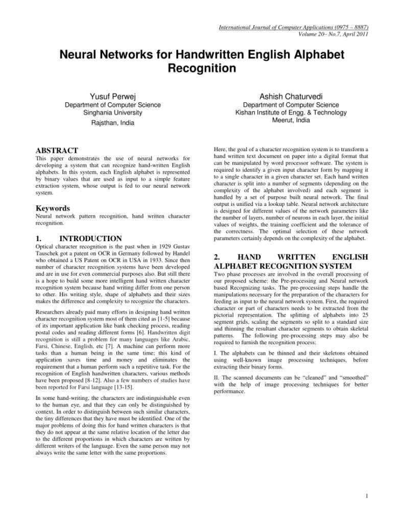 Pdf) Neural Networks For Handwritten English Alphabet