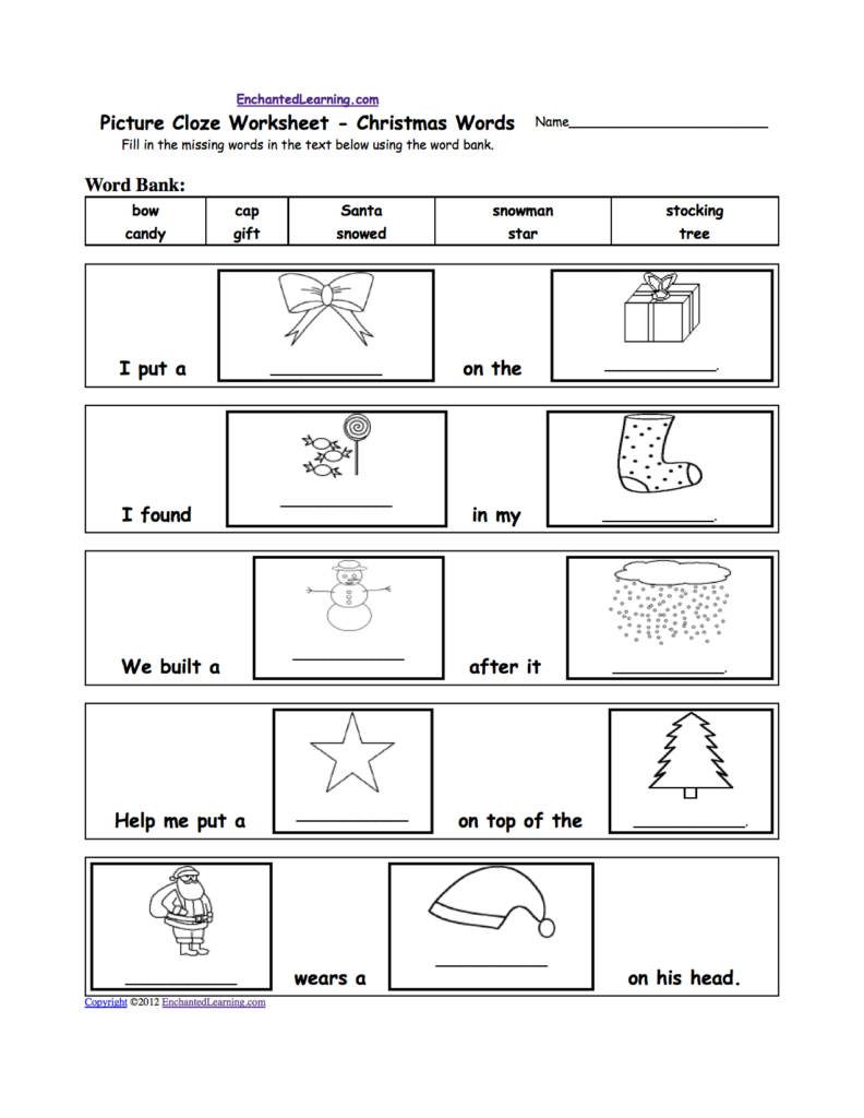 Picture Cloze Worksheet   Holiday And Seasons Words