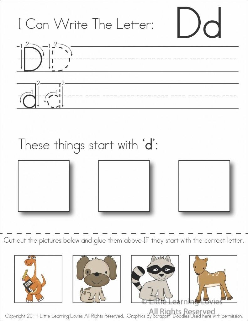 Pin On Writing Activities In My Class regarding Letter D Worksheets Cut And Paste