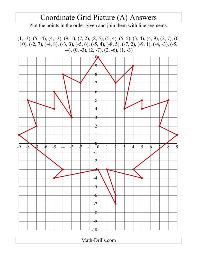 Plotting Coordinate Points Art    Red Maple Leaf (A)