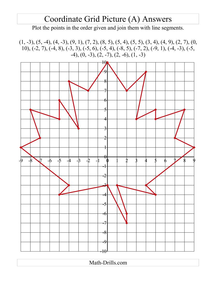 Plotting Coordinate Points Art -- Red Maple Leaf (A)