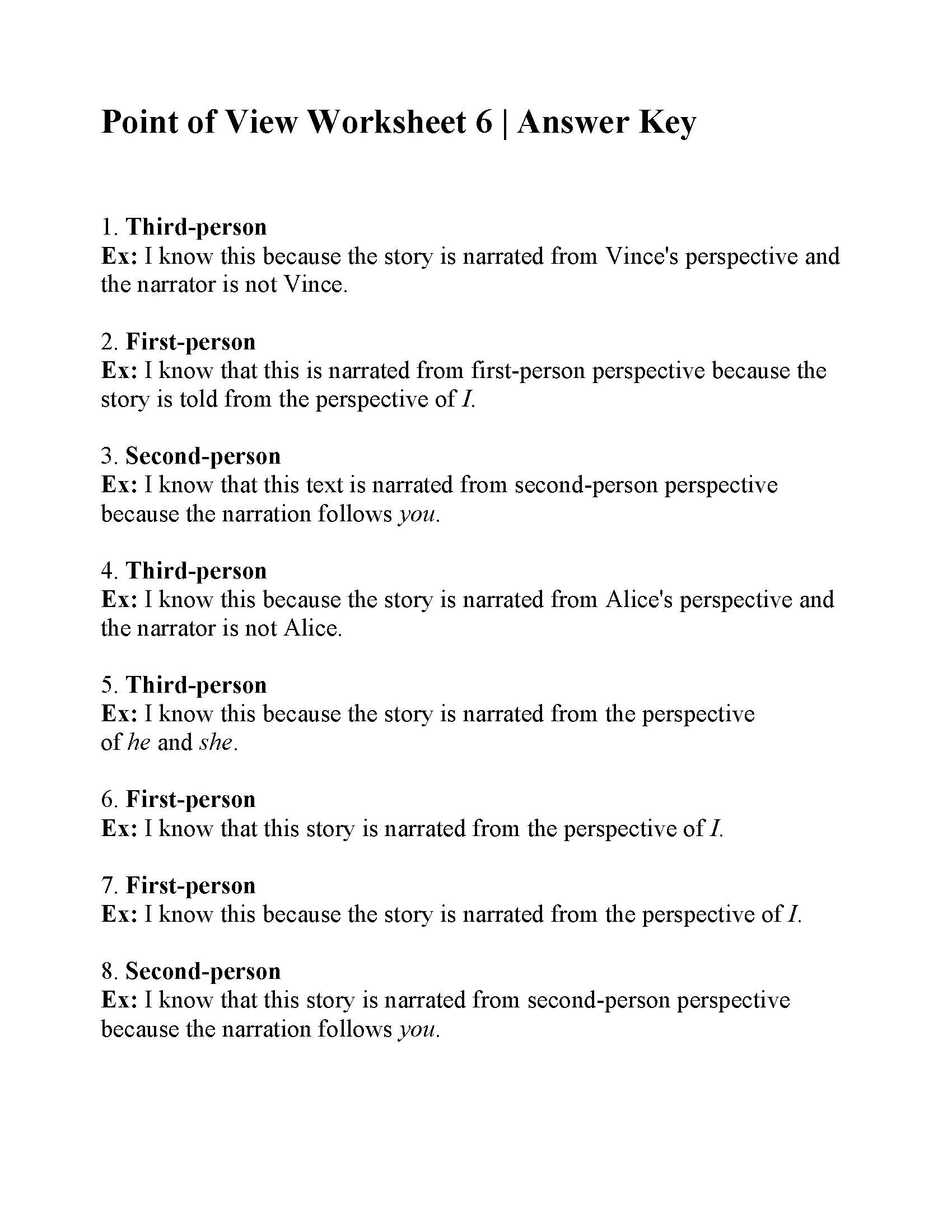 Point Of View Worksheet 6 | Answers