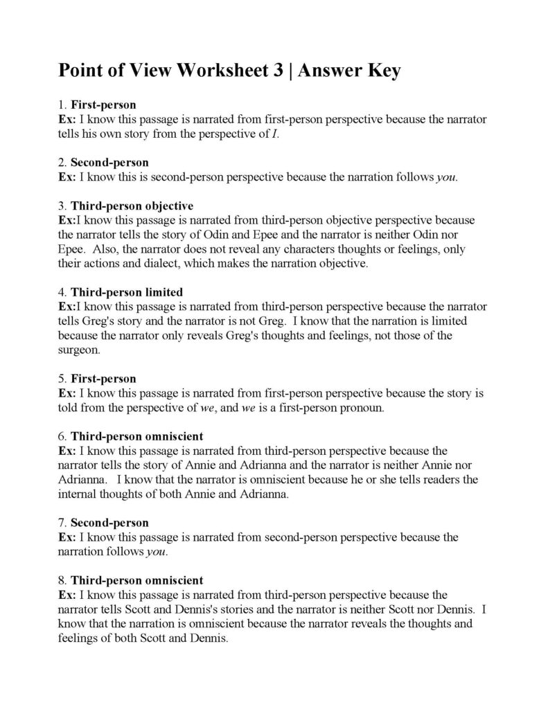 Point Of View Worksheet Answers Worksheets 4Th Grade Math