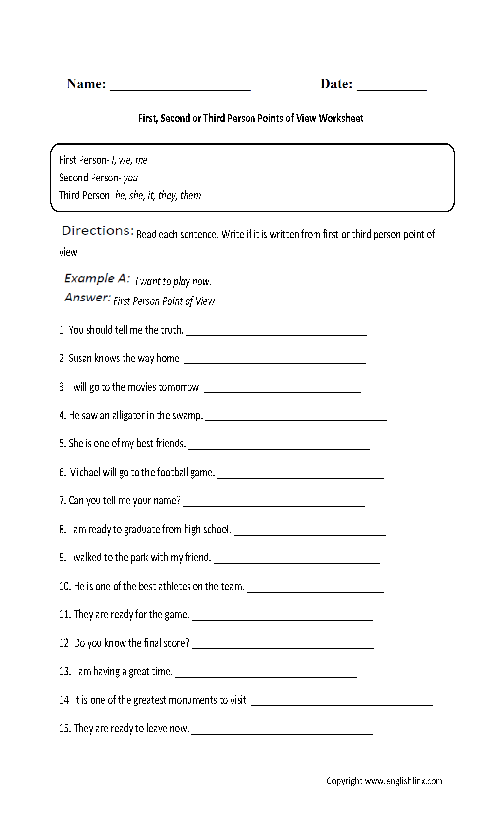 Point Of View Worksheets | First, Second And Third Person