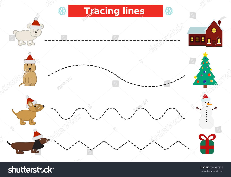 Preschool Christmas Worksheet Practicing Fine Motor Stock