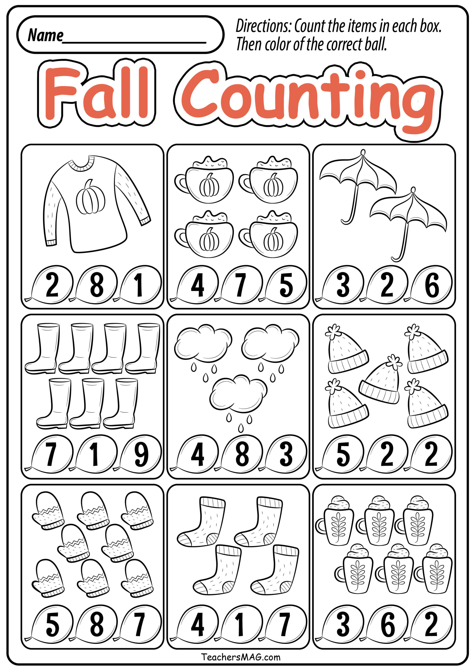 Preschool Fall Math Worksheets Teachersmag Free Printable