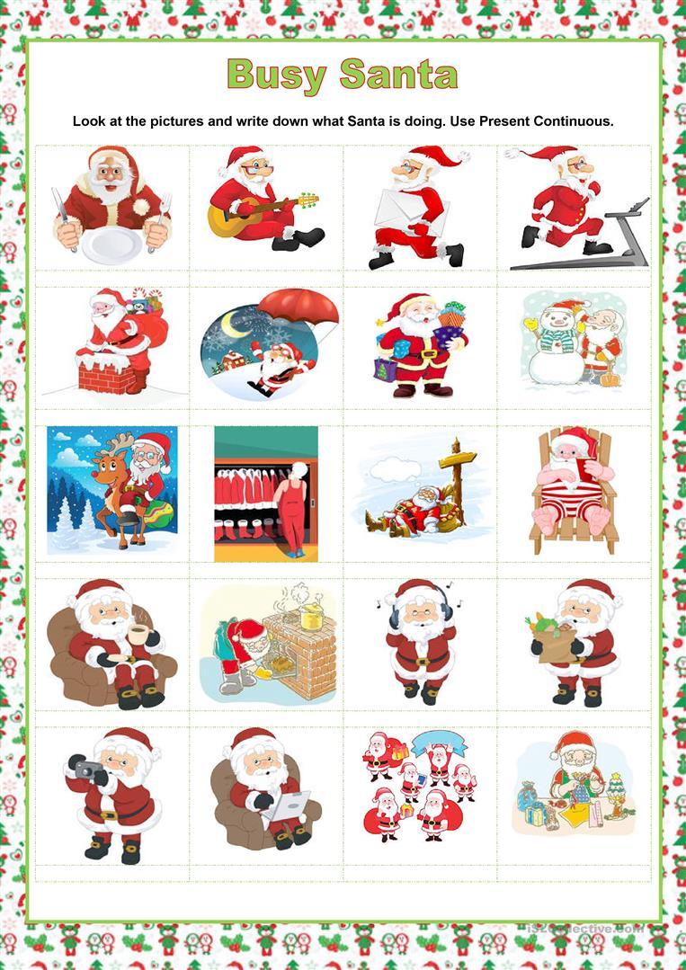 Present Continuous - Christmas - Busy Santa - English Esl