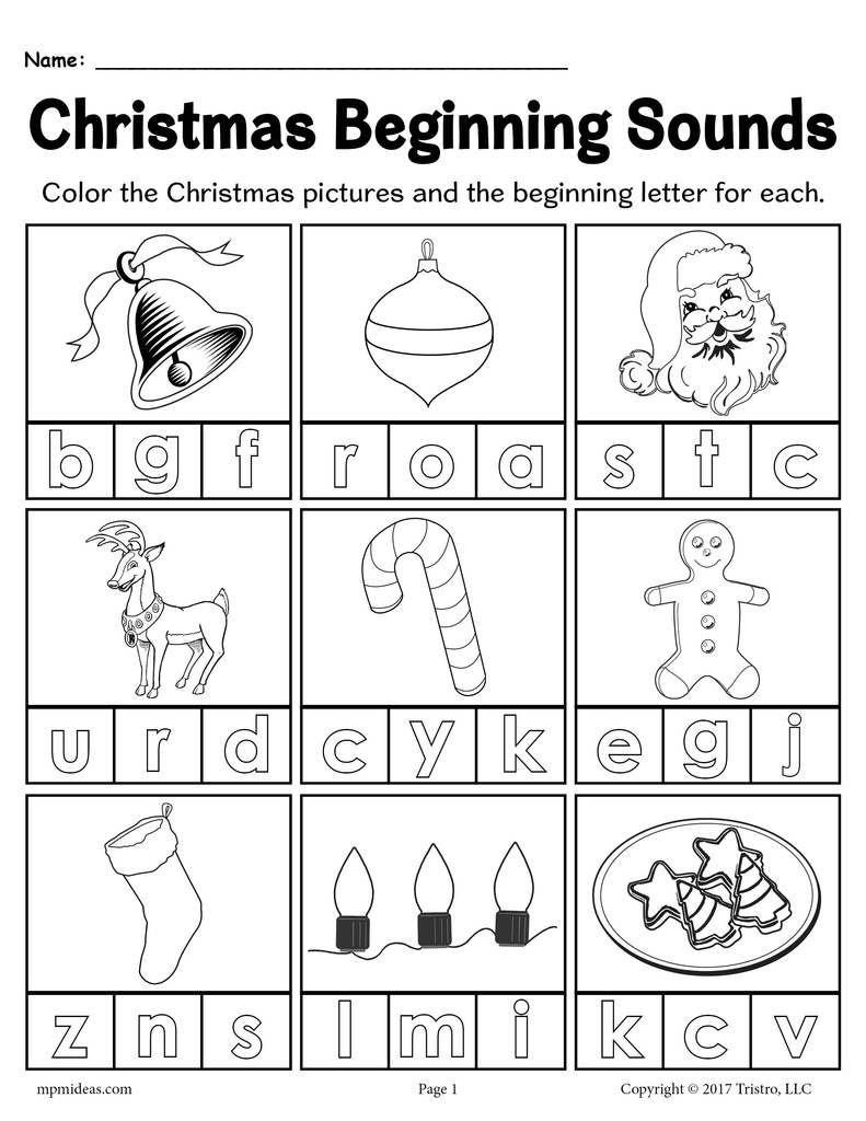 Printable Christmas Beginning Sounds Worksheet!   Beginning