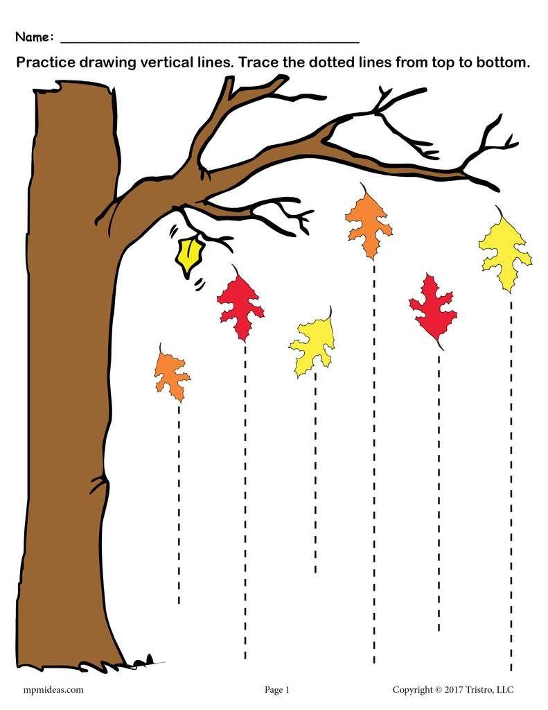 Printable Fall Line Tracing Worksheets   Рабочие Тетради Для