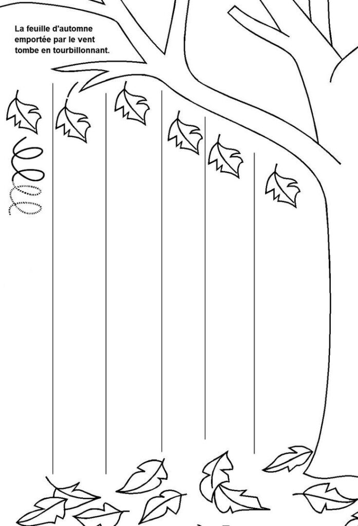 Printable Fall Trace Line Worksheet (3)   Crafts And