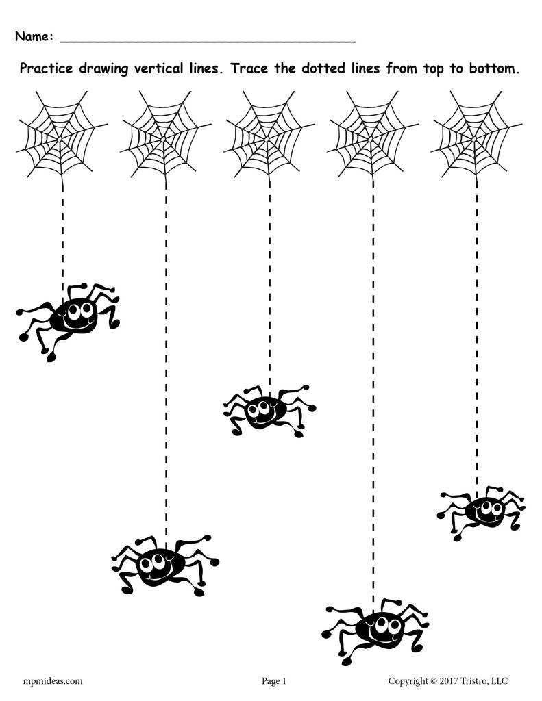 Printable Halloween Line Tracing Worksheets! | Halloween