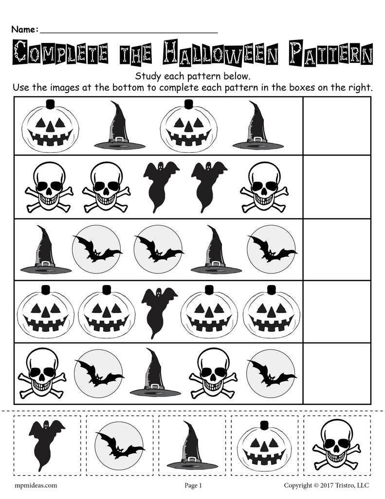 Printable Halloween Pattern Worksheet! | Halloween
