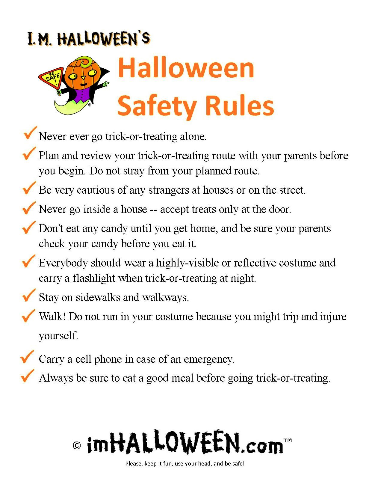 Printable Halloween Safety Rules | Halloween Safety