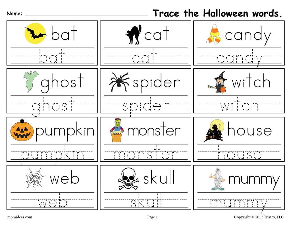 Printable Halloween Words Handwriting & Tracing Worksheet