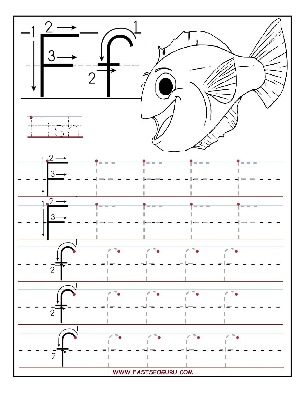 Printable Letter F Tracing Worksheets For Preschool with regard to Letter F Worksheets Printable