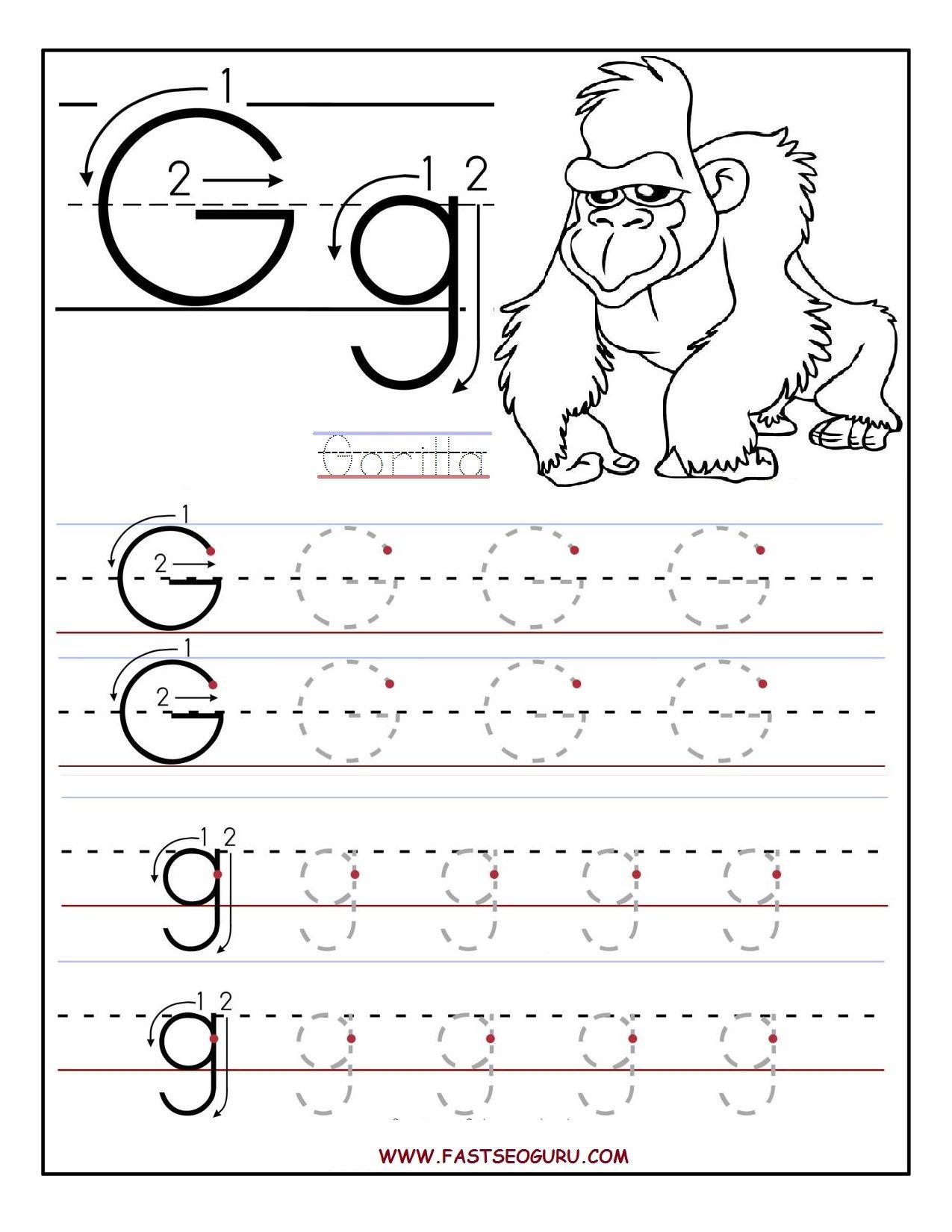 Printable Letter G Tracing Worksheets For Preschool inside G Letter Tracing