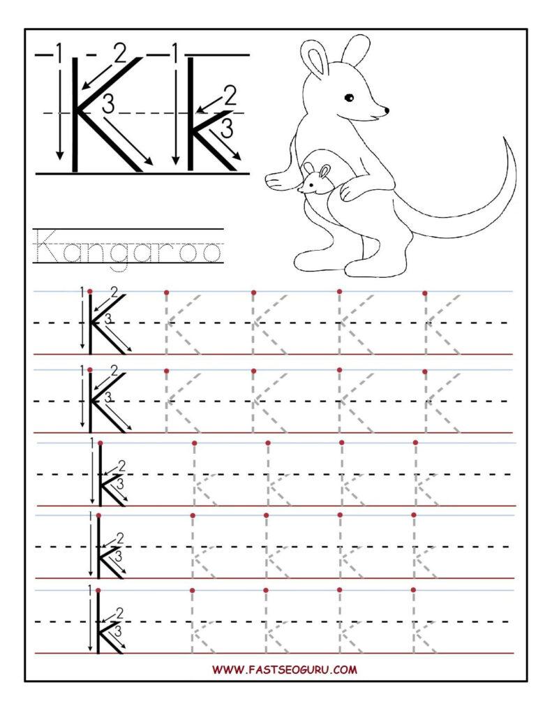 Printable Letter K Tracing Worksheets For Preschool For Letter K Tracing Worksheets Preschool