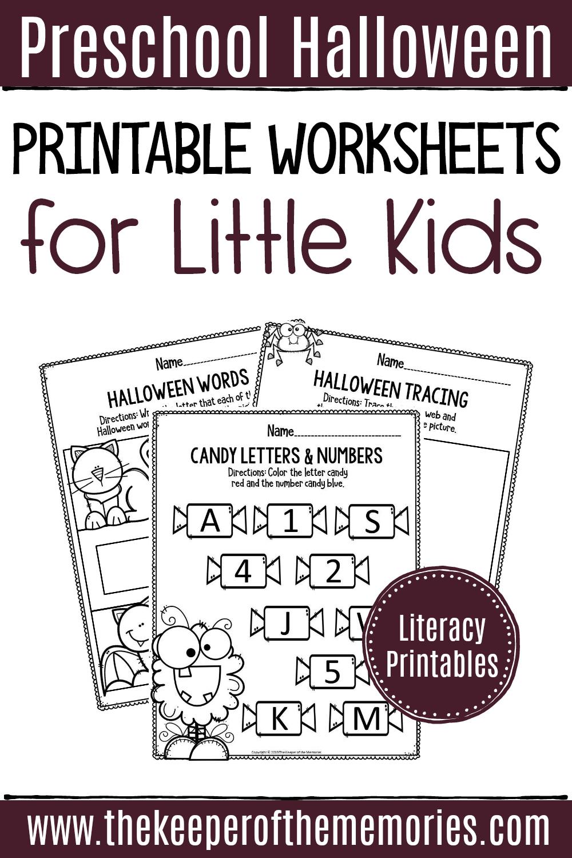 Printable Literacy Halloween Preschool Worksheets