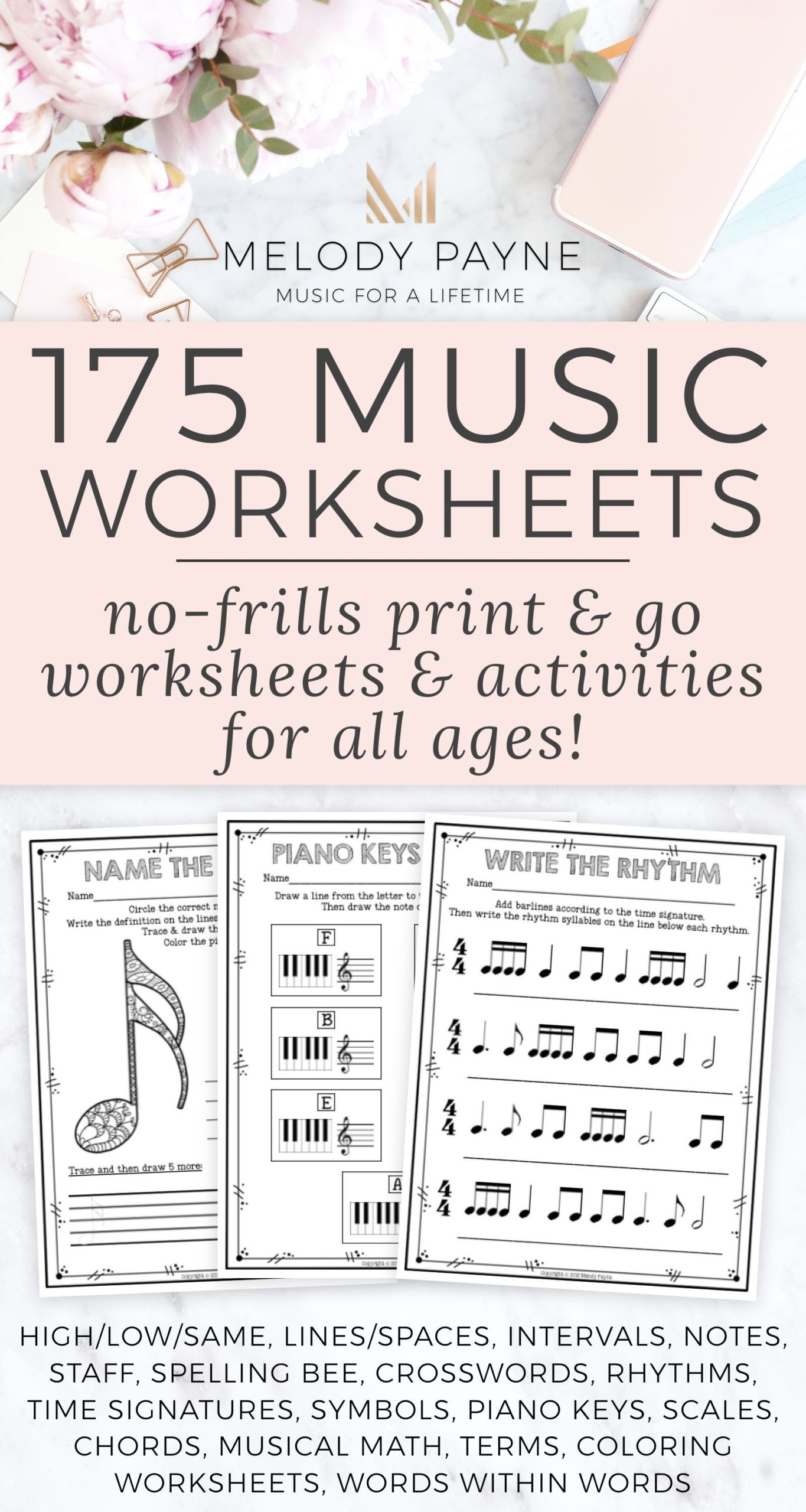 Printable No Frills Music Worksheets For Elementary On Best