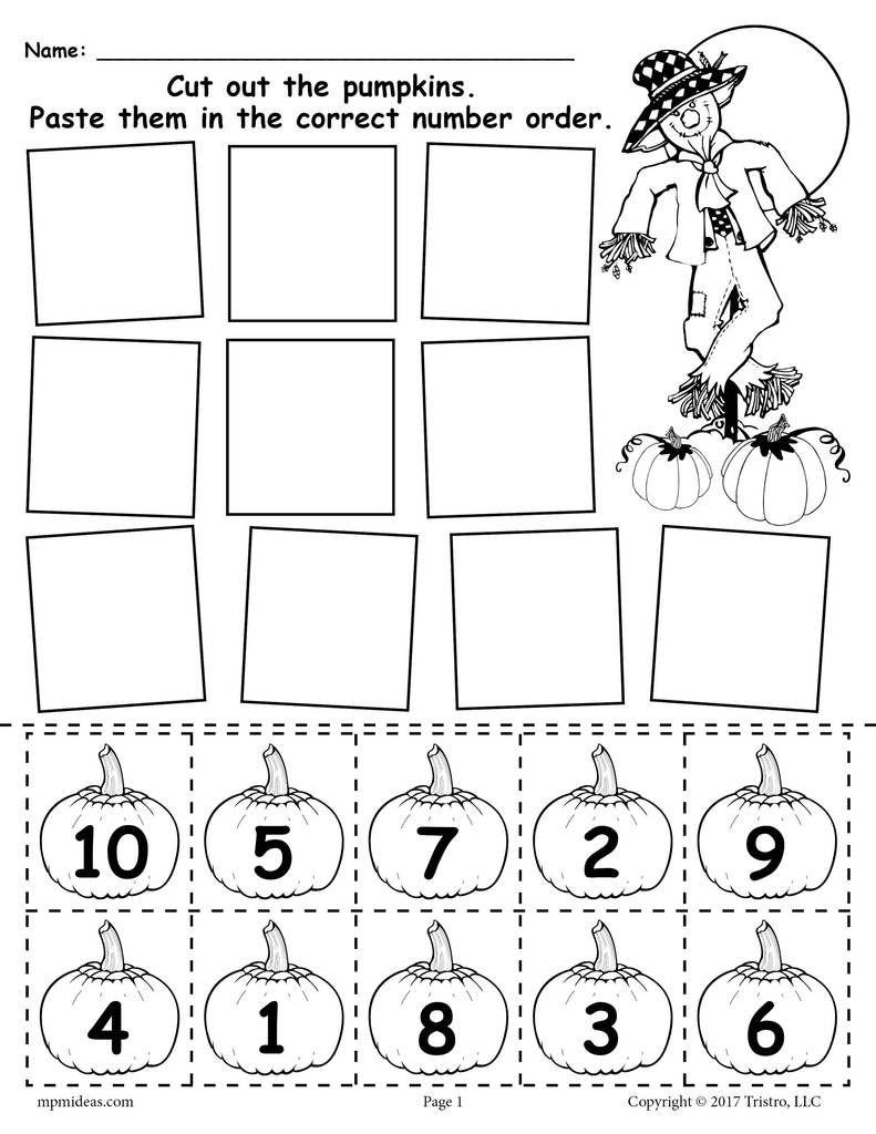 Printable Pumpkin Number Ordering Worksheet 1-10
