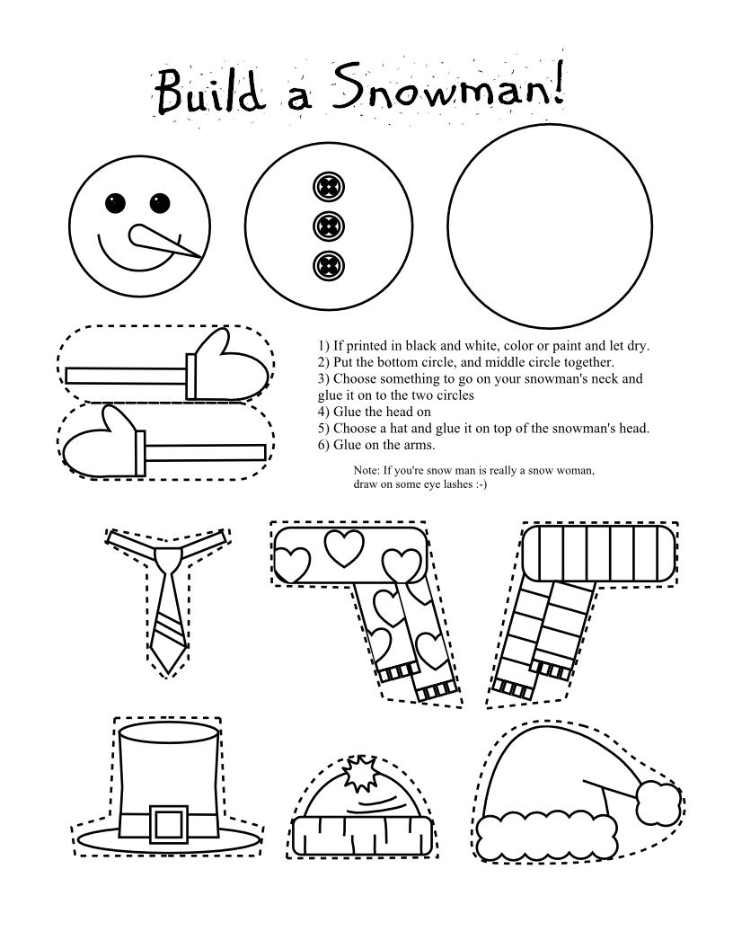 Printable Snowman Coloring Page Craft | Snowman Coloring